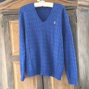 Ralph Lauren XL Cobalt Blue V Neck Cotton Sweater